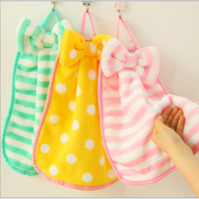 cute bow microfiber velvet fabric baby bathroom hand towel striped soft coral quick drying kitchen - Kitchen Hand Towels