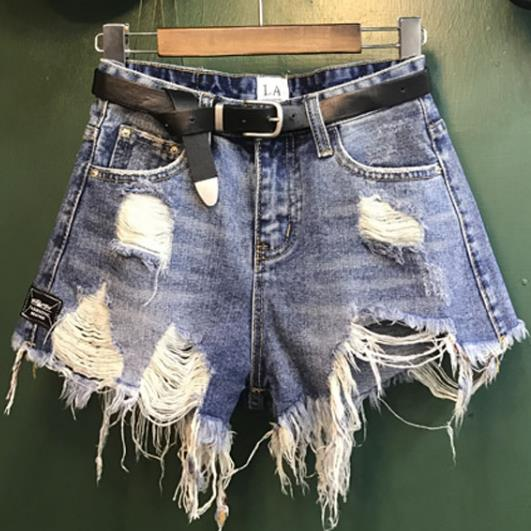 Fashion Women Vintage Ripped Summer High Waisted Denim   Shorts   Jeans tassel Hole Light Blue   Shorts