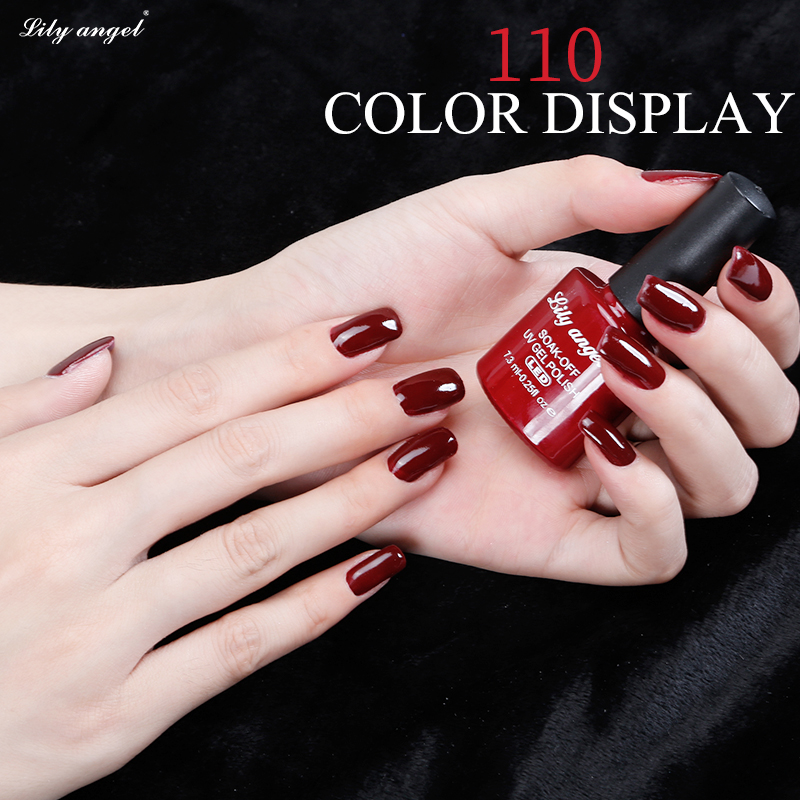 Lily malaikat 7.3 ml 110 Warna Rendam off UV LED Gel Polandia Colorful Gel Nail Polish Lacquer Pernis Abadi Semi Permanen