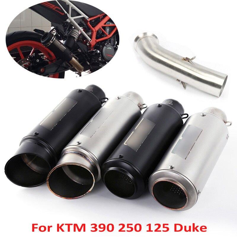Sans lacet Duke 390 Moto pot d'échappement tuyau + mi lien Tube pour KTM Duke 390 125 250 2017-2018 Moto Escape avec DB Killer
