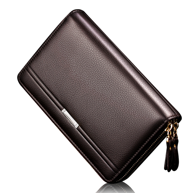 Men wallets with coin pocket long zipper coin purse for men clutch business Wallet Double zipper