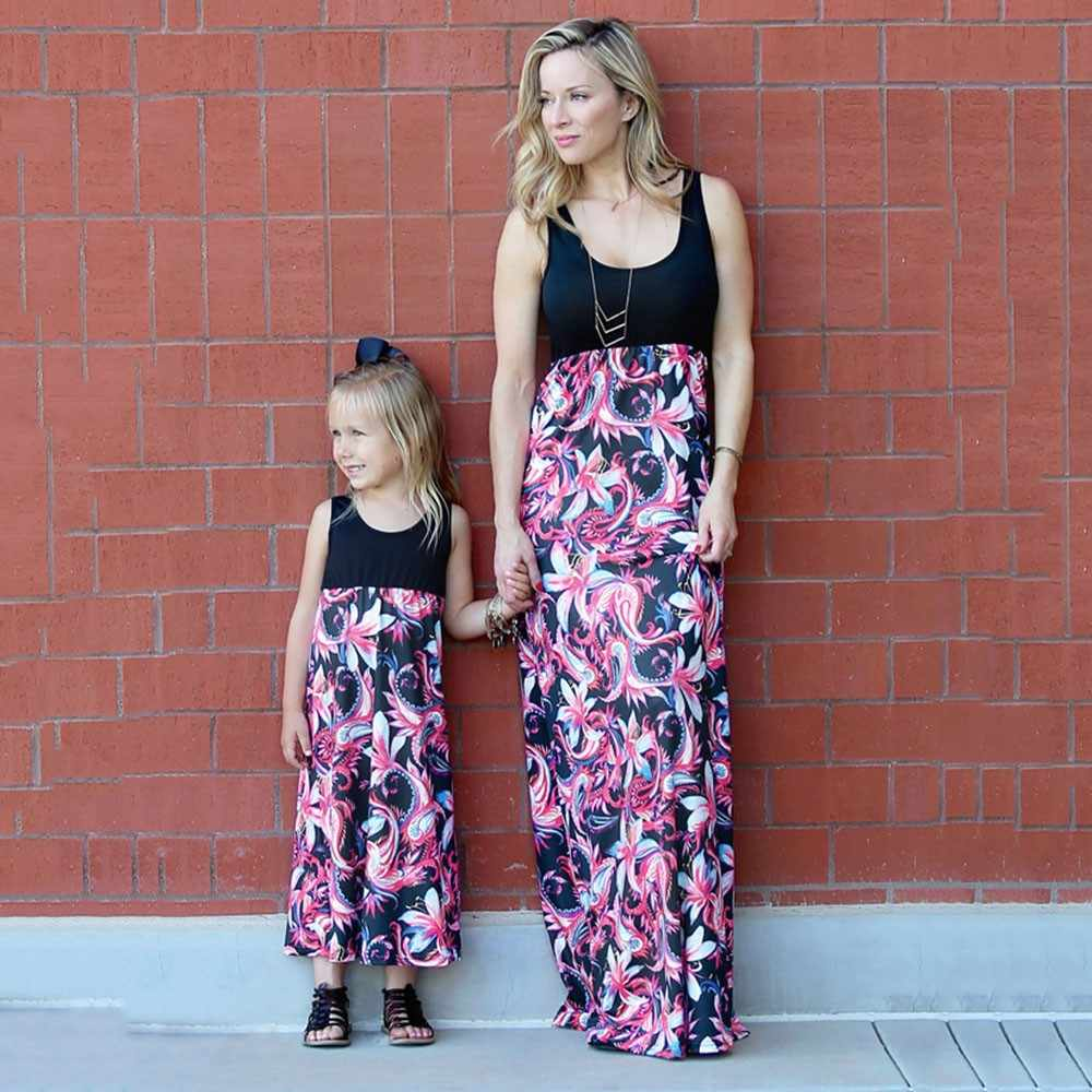 df2f1bdcef8c MUQGEW 2018 Mommy and me family matching mother daughter dresses clothes  striped mom and daughter dress