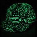 IMucci Luzes Azuis Graffiti Boné de Beisebol do Hip Hop Fluorescente Snapback Tampas Homens Mulheres Casquette Chapéus Da Menina do Menino Chapéu Luminosa