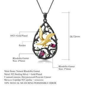 Image 5 - GEMS בלט 925 סטרלינג כסף טבעי Rhodolite גרנט בעבודת יד ציפור על עץ תליון לתכשיטי נשים