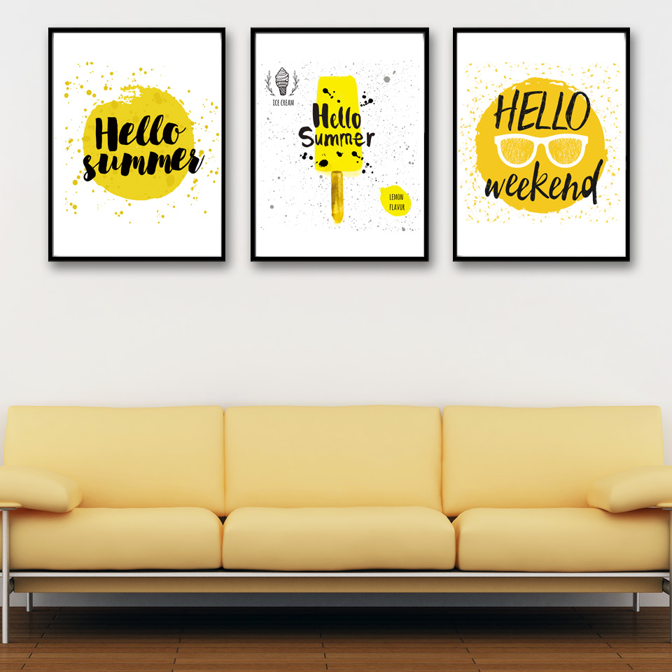 Cartoon Summer Ice Cream Yellow Wall Art Canvas Painting Modern Home ...