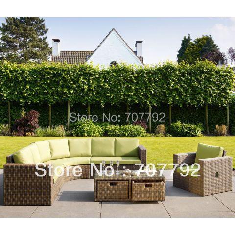 Rattan Corner Lounge Sofa Set