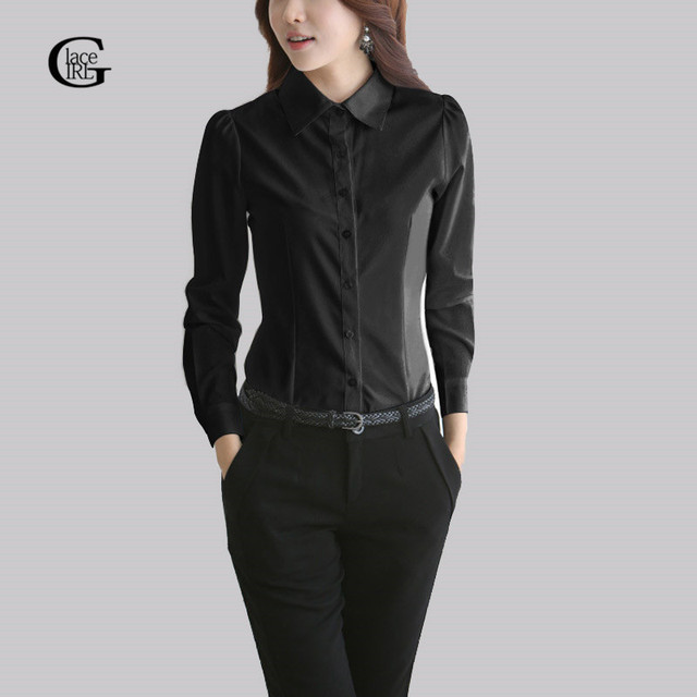 Lace 2017 Long Sleeve Women Shirts Solid Color Black White Casual Turn Down Office Ol