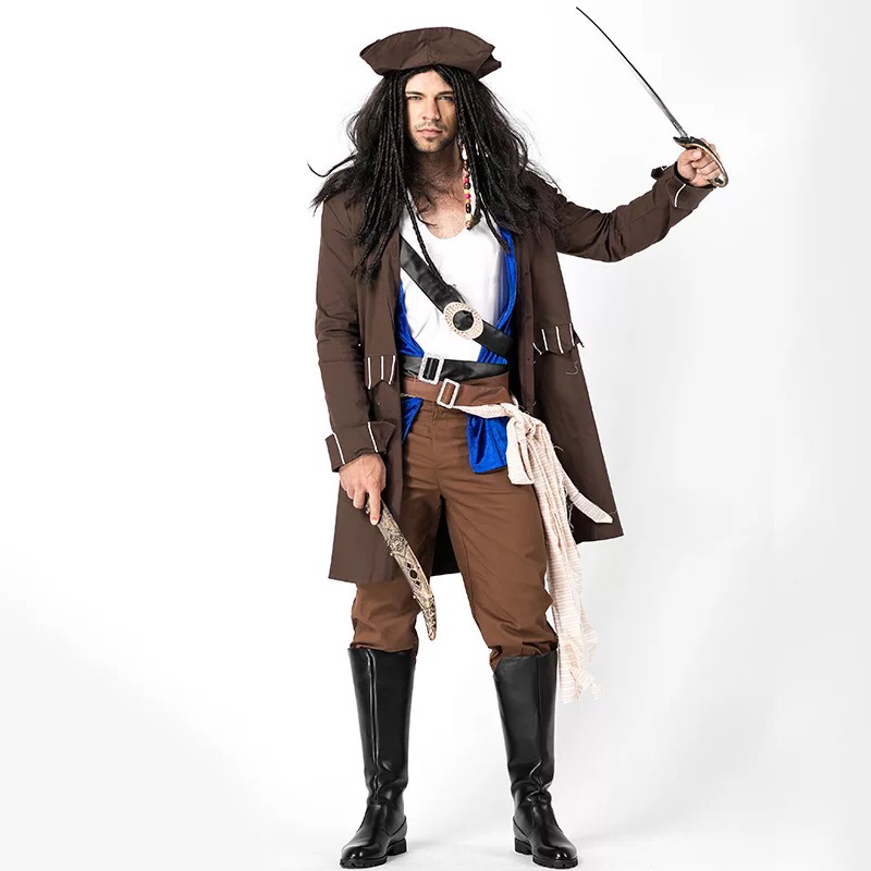 Adult Men Halloween High Seas Pirate Captain Jack Costume Historical Vintage Buccaneer Outfit Fancy Clothing Set For Male