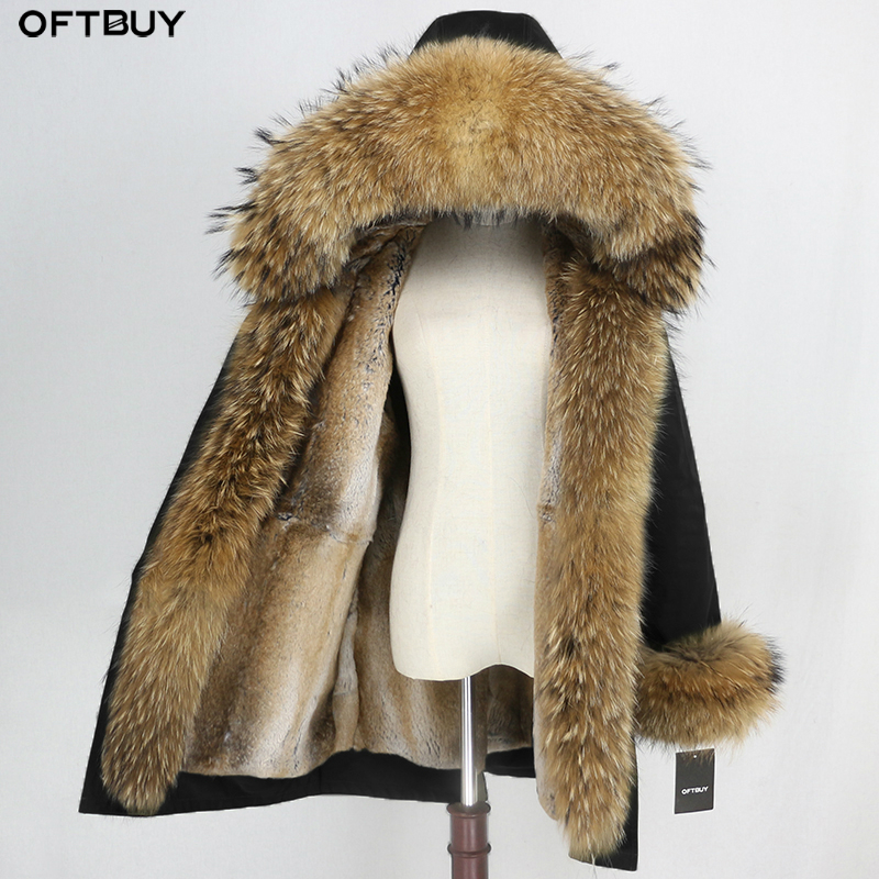 OFTBUY Waterproof Parka 2019 Winter Jacket Women Real Fur Coat Natural Raccoon Fur Collar Hood Real Rabbit Fur Liner Streetwear