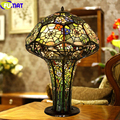 FUMAT Tiffany Stained Glass Orchid Table Lamps Mushroom Spider Web Antique Desk Lamp Pure Copper LED Light Pull switch Fixtures