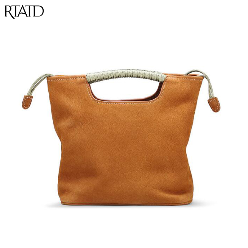 RTATD New Vintage Women Handbags Genuine Leather Bucket Women Tote Small Size Beach Bag For Female Shoulder Bags B262 ellacey women bucket bags fox fur genuine leather handbags fur women bag socialite basket real leather small christmas tote bag