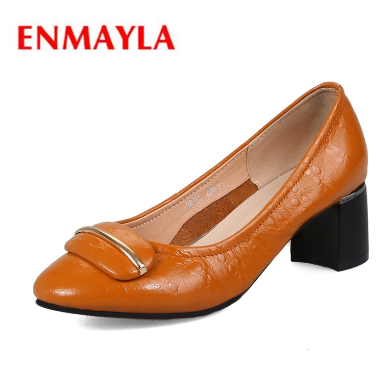 ENMAYLA Round Toe  Genuine Leather  Casual  Slip-On  Zapatos Mujer Tacon  Sexy Heels  Square Heel Shallow   Size 34-40 ZYL2010