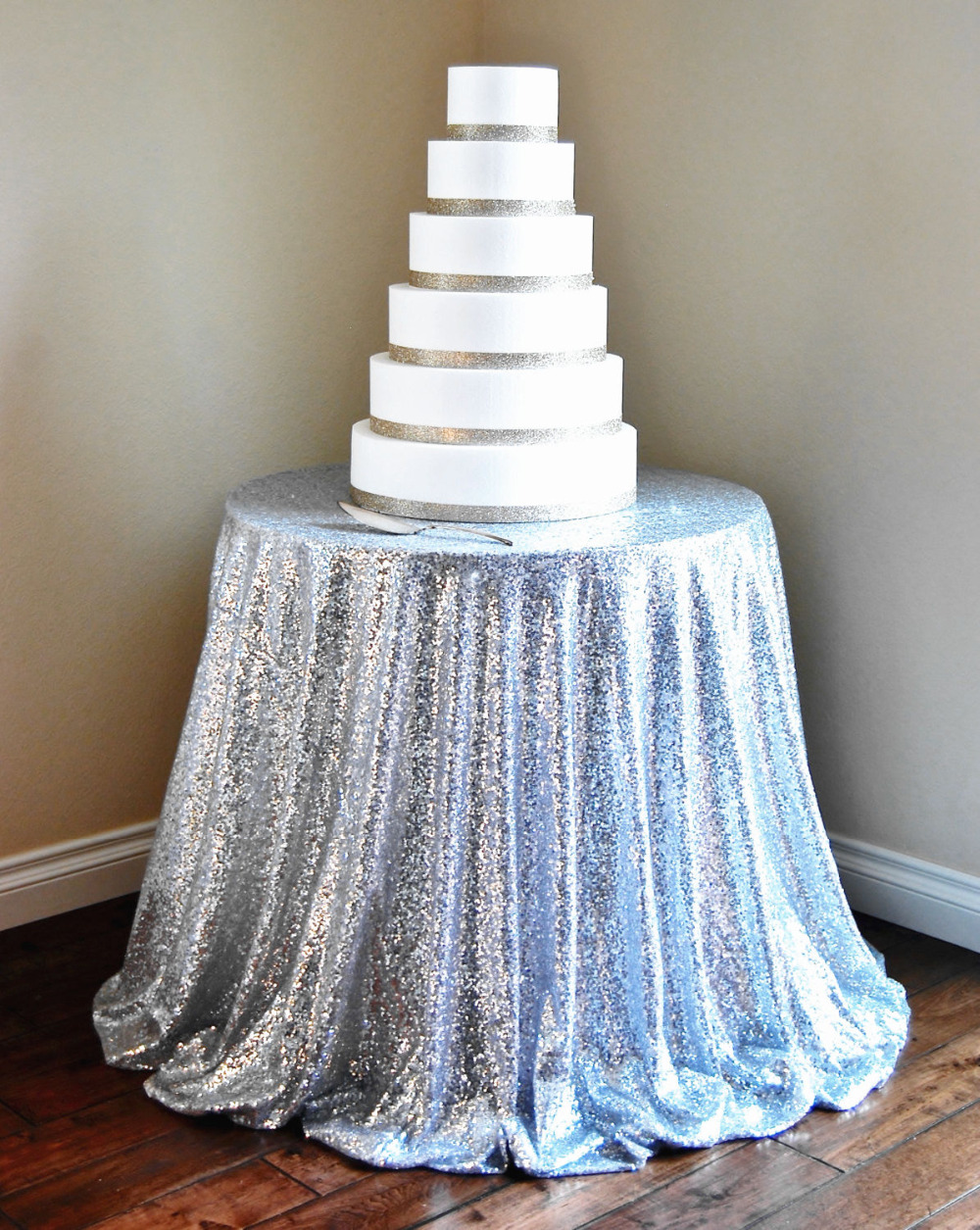 96 inch round tablecloth - 96 Inch Round Silver Sequin Tablecloth Wedding Beautiful Silver Sequin Table Cloth Overlay Cover