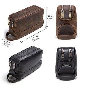 Image 4 - CONTACTS neceser de cuero de vaca crazy horse para hombre, bolsa de aseo de viaje de gran capacidad, organizador de bolsas de maquillaje