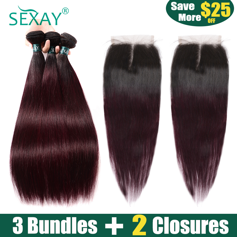 Burgundy Bundles With Closures 1B/99J Color SEXAY Non Remy Hair 3 Bundles With 2PCS Closures Two Tone Ombre Bundles With Closure