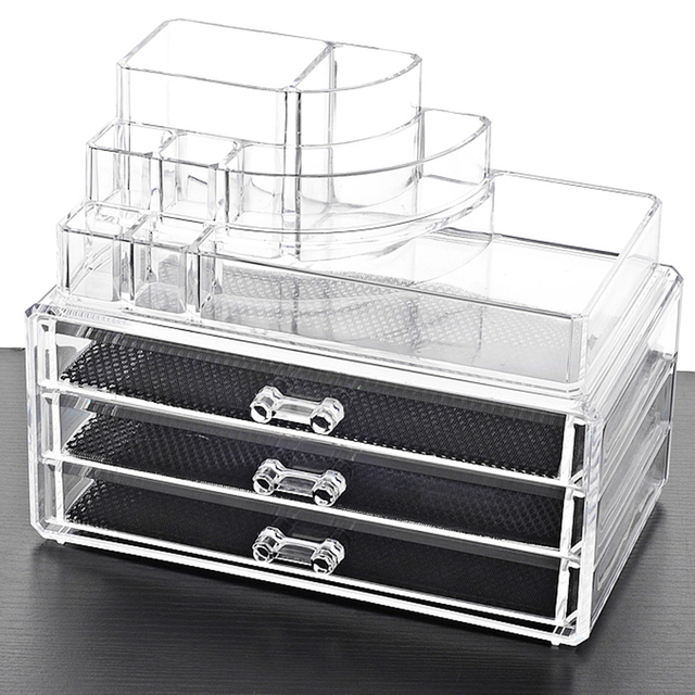 Manufacturer acrylic desktop jewelry drawer organizer cosmetic
