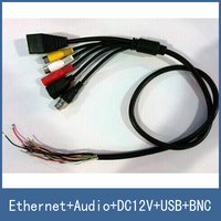 Multi Function Network Cable For IVS IP Camera Module Ethernet Audio Input Output DC12V Power USB