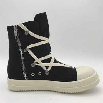 High-Top Canvas Shoes Men Luxury Brand Trainers Casual Ankle Platform Boots Zip Combat Work Army Boots Plus Size Winter Sneakers