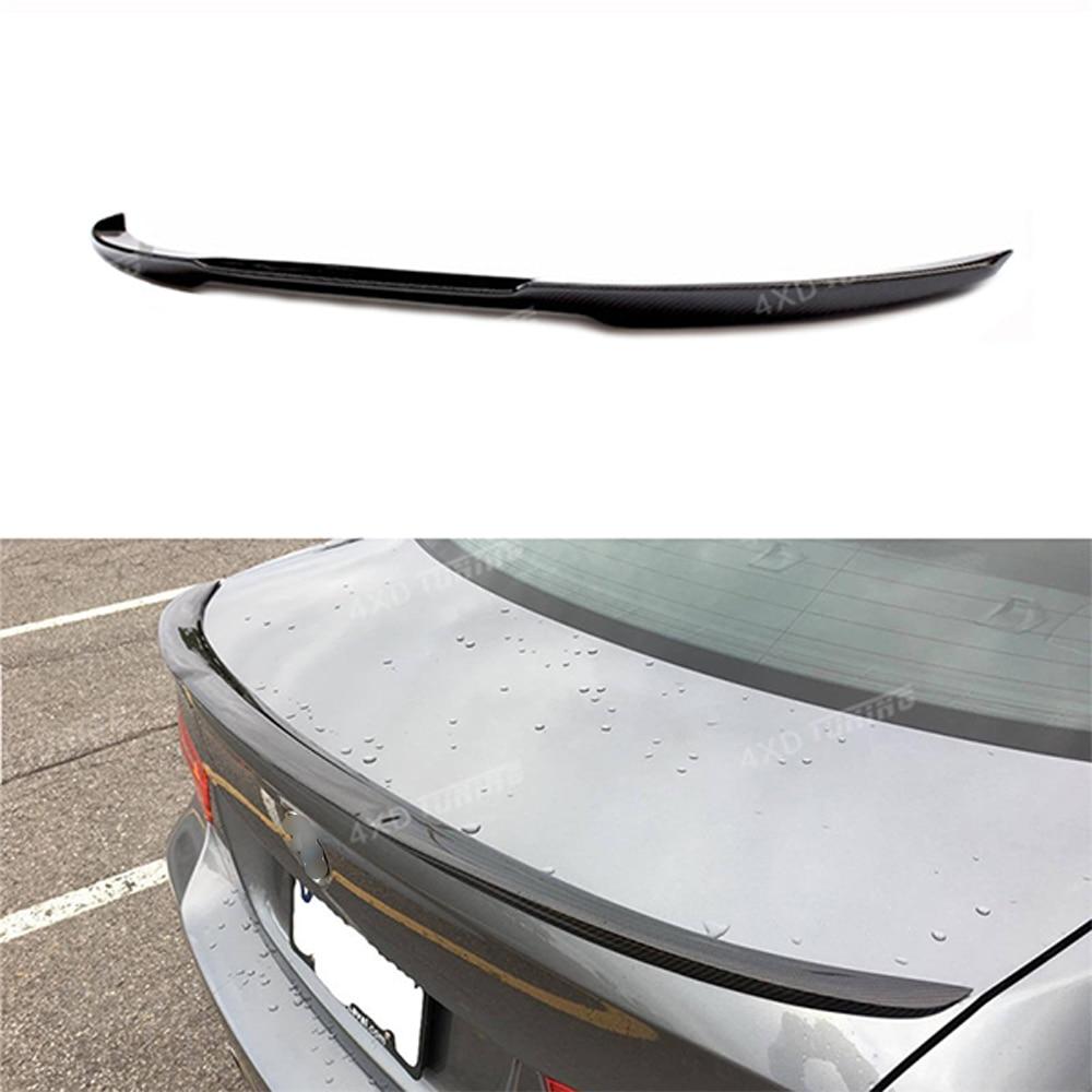 For BMW E90 Spoiler M4 Style 3 Series E90 & E90 M3 Carbon Fiber Rear Spoiler Rear Bumper Trunk Wing Sedan Car styling 2005-2011 m3 m4 z4 e90 e92 e46 f30 f32 f10 f80 f82 rubber carbon fiber car styling rear lip spoiler roof wing for bmw any car