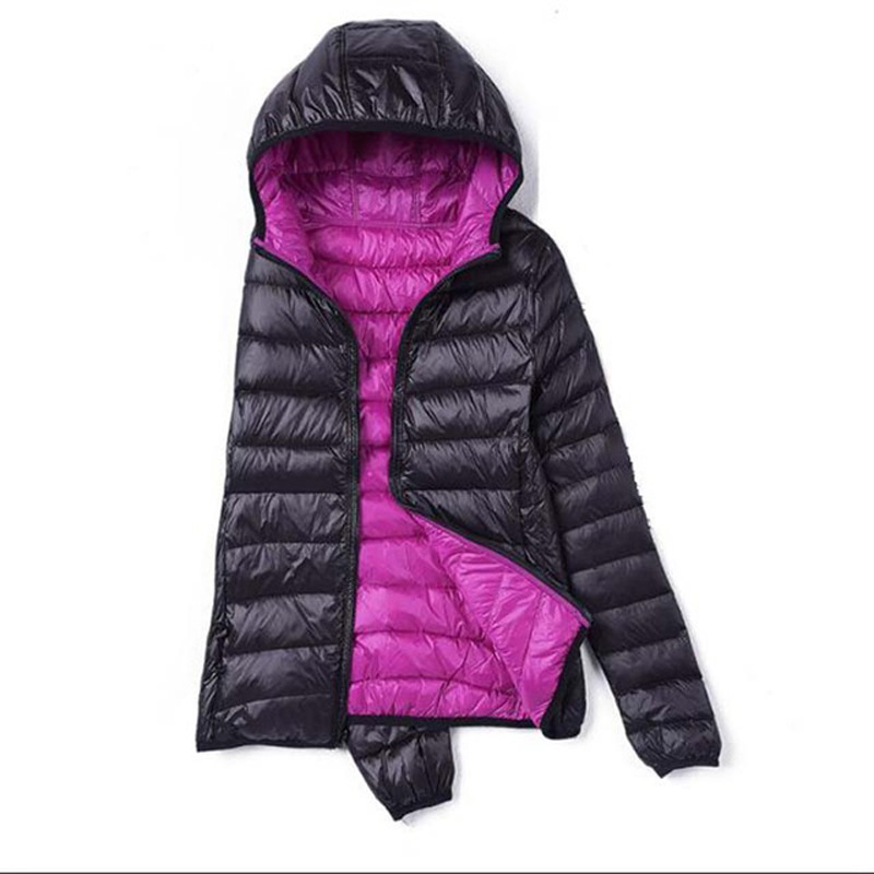 New Winter Slim Women White Duck   Down   Jacket Double-side Wearing Plus Size Short Hooded Thin Light   Down     Coat   Women Jackets LP026