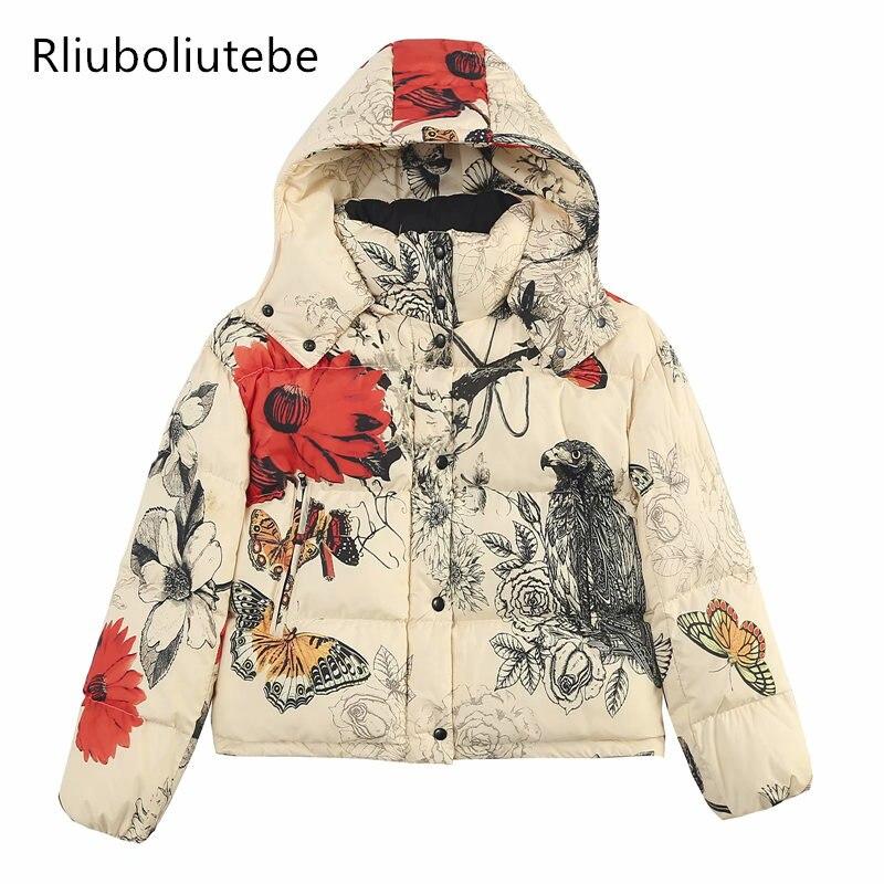 Vintage Animal Print Hood Puffer jacket   Parkas   Warm Jacket Women High Collar Elastic Cords Winter Coat Outwear Streetwear Basic