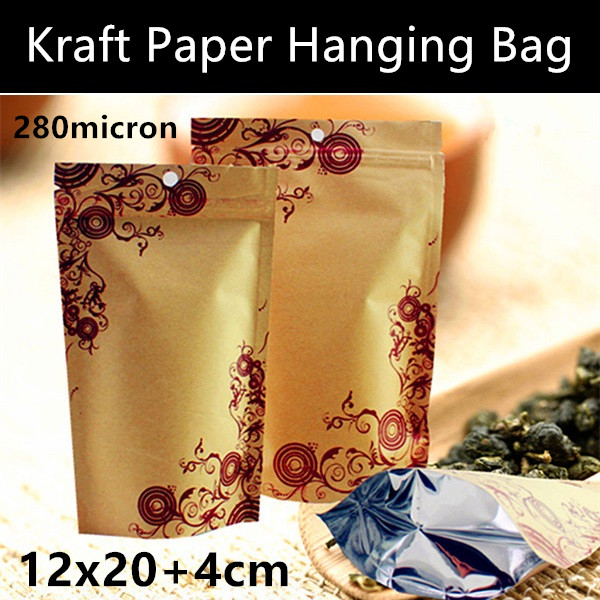 Wholesale 50pcs <font><b>12x20</b></font>+4cm Kraft Paper Hanging Hole Bag Aluminum Foil Zipper Bag Printed Paper Packaging Bag Gift Paper Bag image