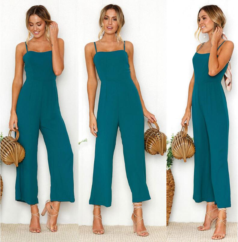 Womens Fashion Slim Sleeveless Pants Suspender Trousers Jumpsuit Casual Loose Green Romp ...