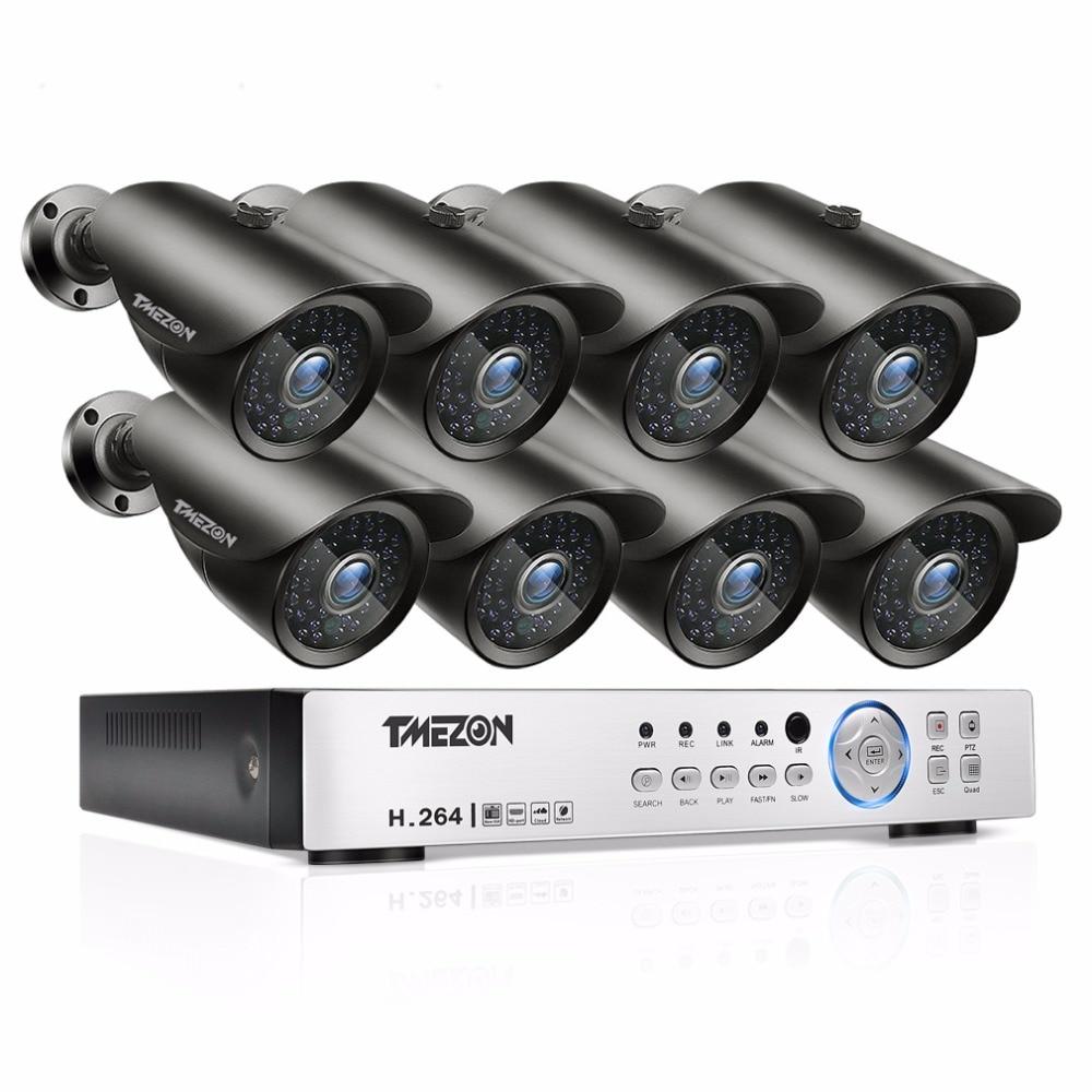 Tmezon AHD 8CH 1080P DVR 8pcs 2 0MP 1080P Camera Security Surveillance CCTV System Auto IR