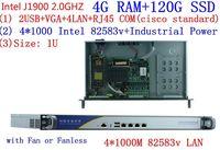 1U стойки J1900 четырехъядерный процессор 4 LAN Multi WAN безвентиляторный дизайна материнской платы межсетевого экрана сетевой безопасности сети у
