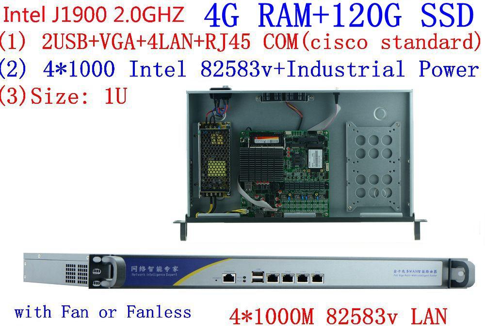1U Rack J1900 Quad Core Processor 4 LAN Multi WAN Fanless Motherboard Design Firewall Network Security Network Server Device