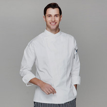 (5 get 10%off, 10 get apron) classy man/woman head chef wear uniform clothes white long sleeve restaurant hotel kitchen coverall
