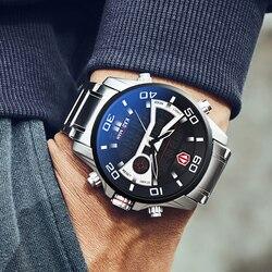 Kademan moda relógio do esporte dos homens de quartzo digital relógios masculinos marca superior luxo à prova dmilitary água exército militar 2019 aço completo relógio pulso