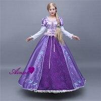 Ainiel Sofia Princesa Tangled Rapunzel Cosplay Para Adultos Top y Falda de Fiesta de Carnaval de Las Mujeres y de La Muchacha Púrpura Vestido Largo