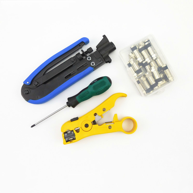 2017 Multitool Wire Stripping Squeezing Pliers Coaxial Cable Cold Press Clamp RG6 /11 Cable TV Crimping Tool Set with 20 F Head cable type flexible wire long reach hose clip pliers hose clamp pliers for auto vehicle car repairs tools