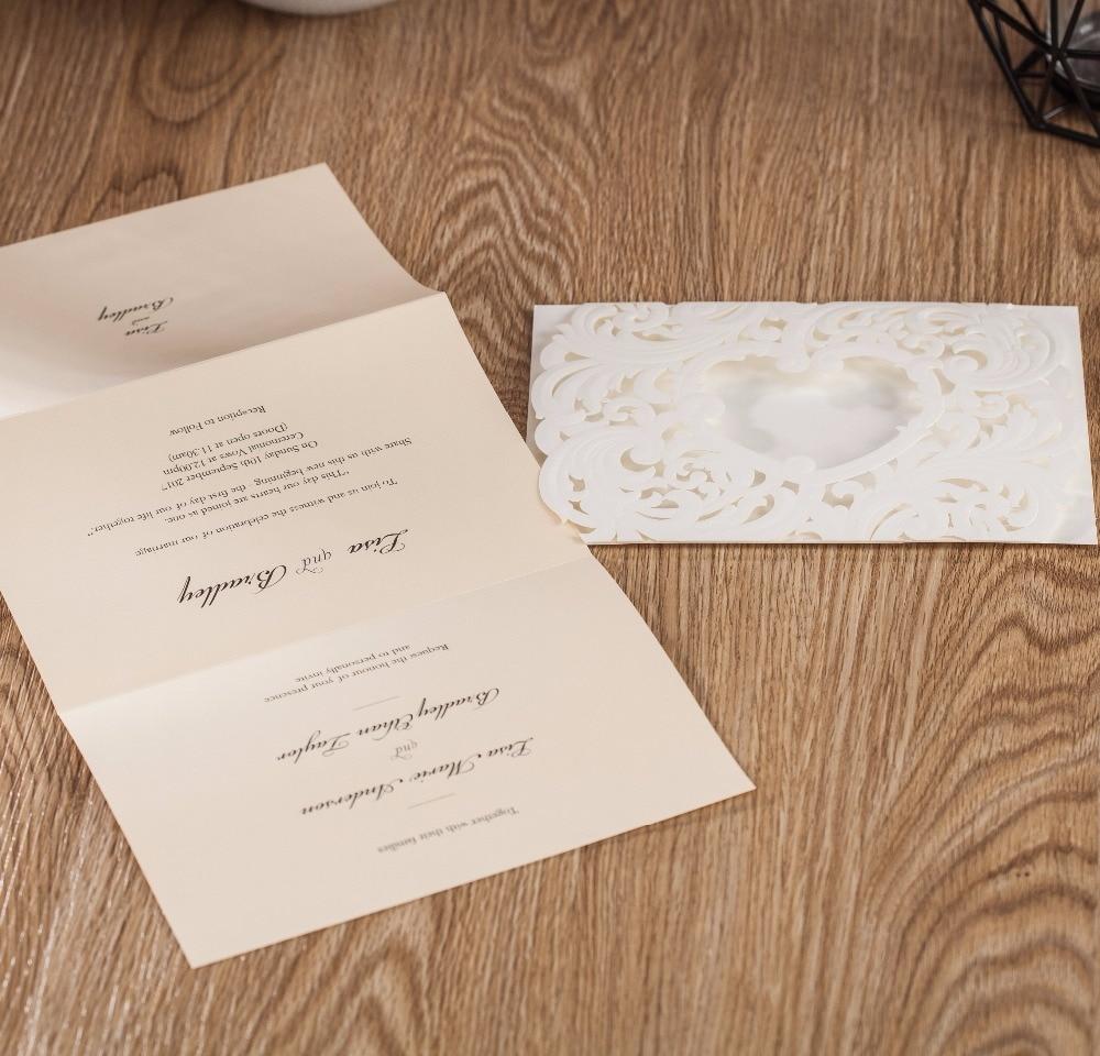 WISHMADE Embossed Wedding Invitation Card Heart Design 50pcs Free ...