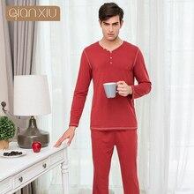 Qianxiu Высокое качество Мужские Мягкий хлопок с длинными рукавами пижамный комплект Мужчины пижамы установить Большие размеры M-2XL 17108