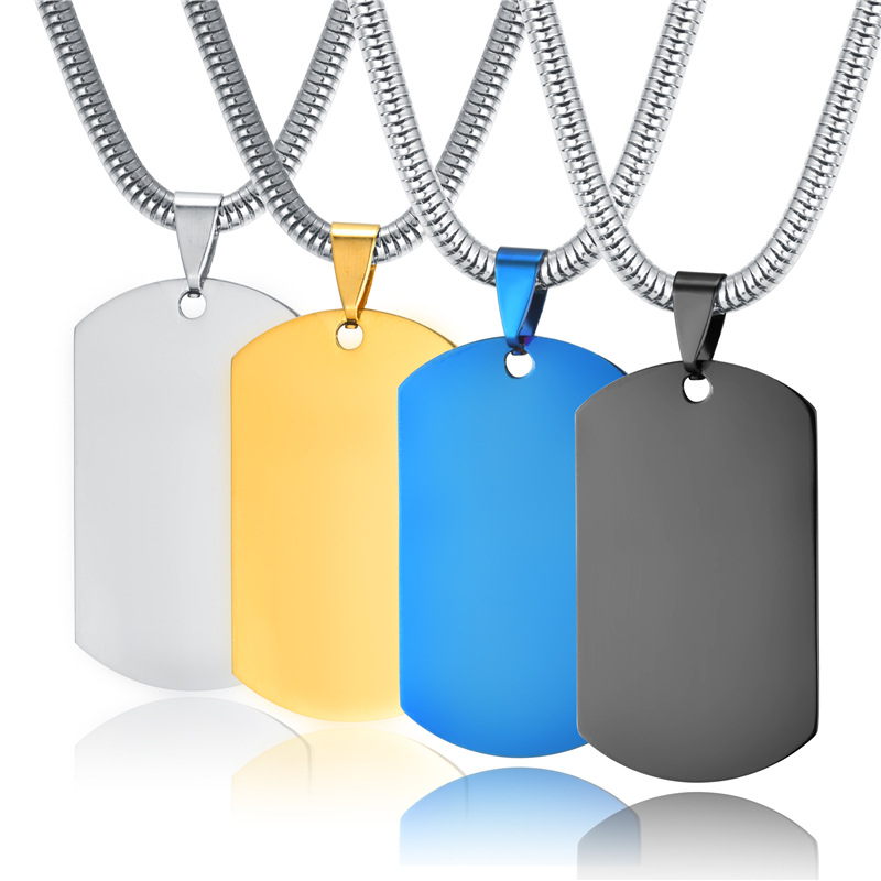 men s military army stainless steel blue gold black blank dog tag