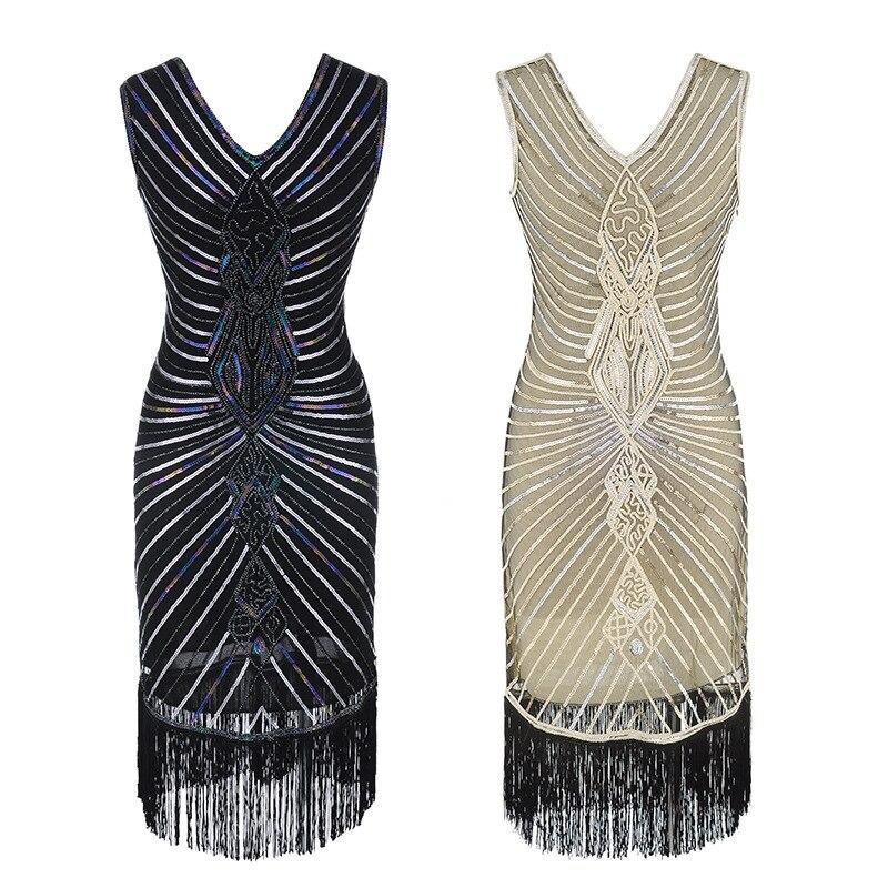 Women 1920s Gatsby Dress Beading V Neck Vintage Tassel Stripe Sequin Draped Flapper Dress Summer Autumn Party Dresses