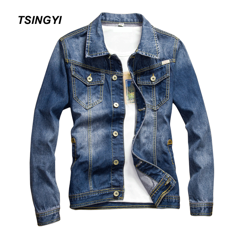 Tsingyi Vintage Whiten and Patch Leather Denim Jacket Men Blue Slim Fit Turn-down Collar Long Sleeve Denim Bomber Mens Coats