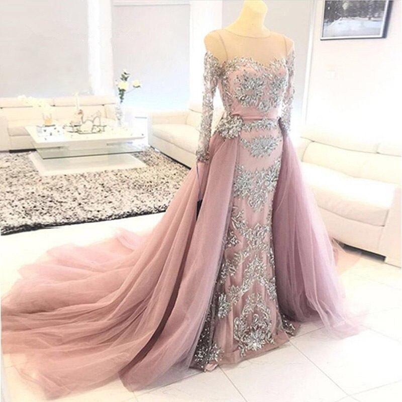 Pink Muslim Evening Dresses 2019 Mermaid Long Sleeves Lace Tulle Islamic Dubai Saudi Arabic Long Elegant Prom Dress Evening Gown