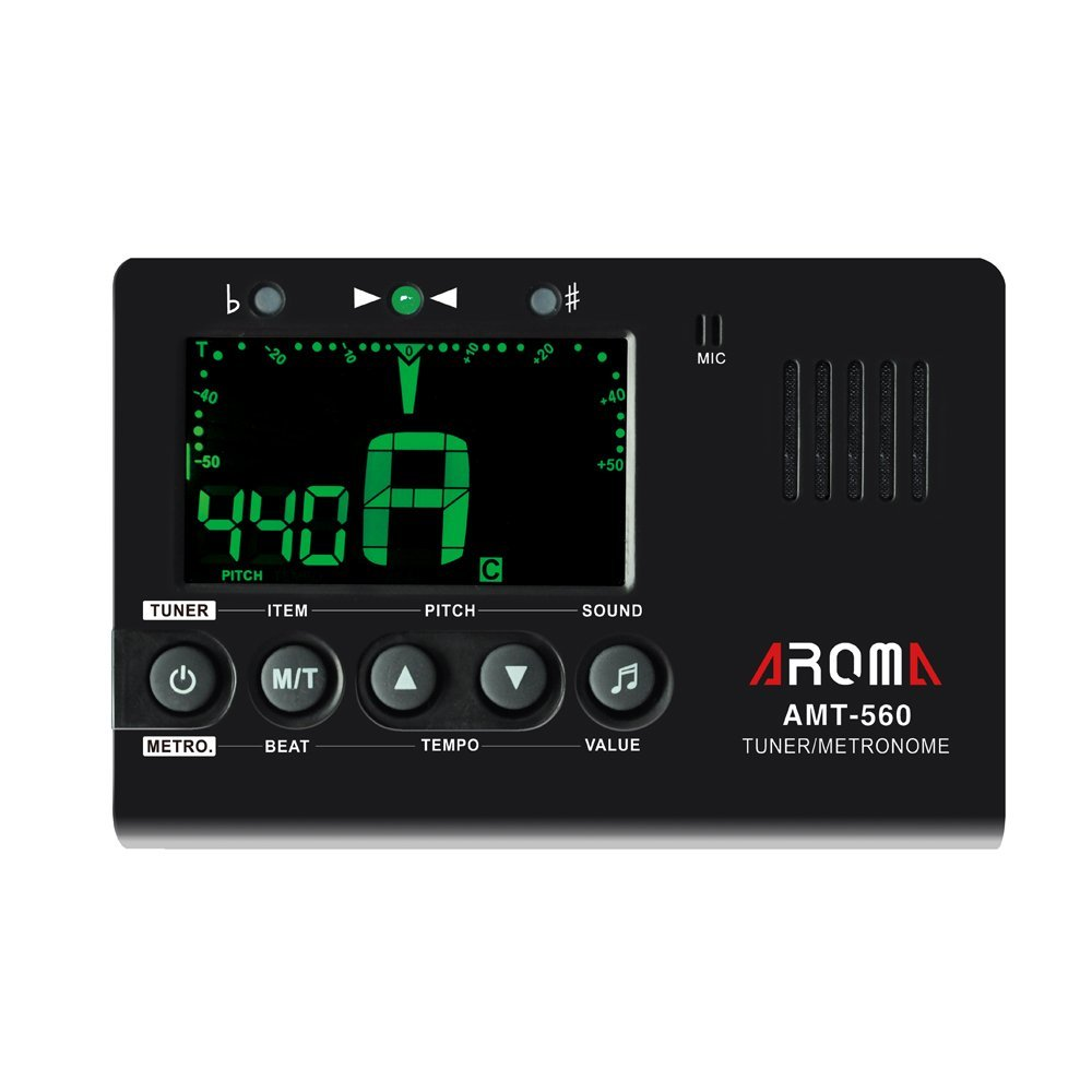 Aroma AMT-560 Electric Guitar Tuner & Metronome Built-in Mic With Pickup Cable 6.3mm For Violin Ukulele Universal Portable