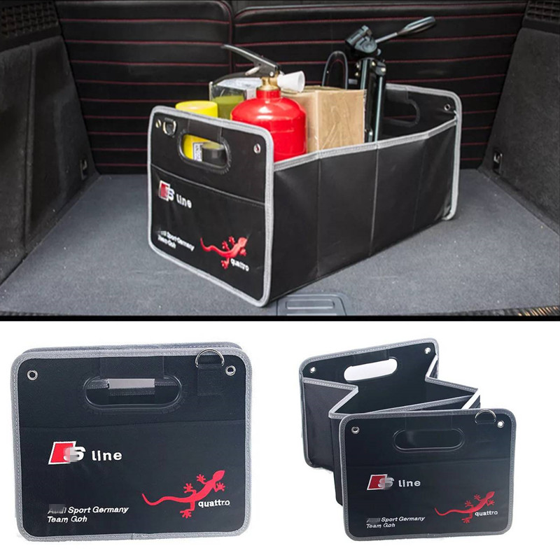 1X Car Styling For Audi A1 A3 A4 B5 B6 B7 B8 C5 C6 C7 A5 A6 A7 A8 Q3 Q5 Q7 8P 80 90 8L Car Accessories Trunk Box Stowing Tidying