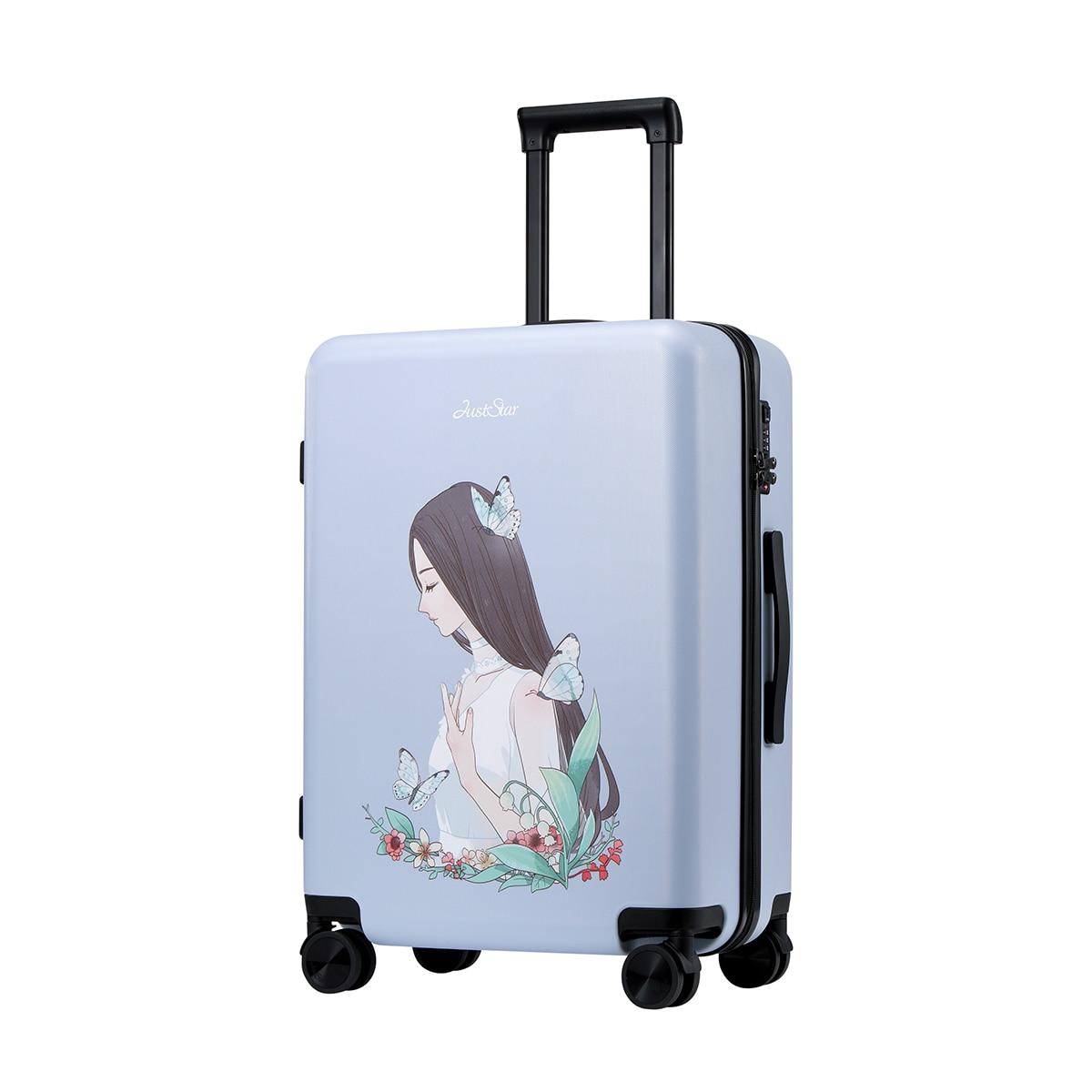 купить Just Star Women Spinner trolley luggage travel case TSA Girls Rolling Luggage PC Hardside Trolley Travel case Boarding Luggage недорого