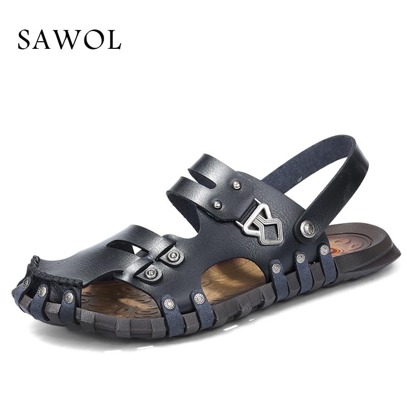Sawol Men Sandals Men Beach Sandals Brand Men Casual Shoes Genuine Split Leather Sneakers Men Slippers Flip Flops Summer Shoes