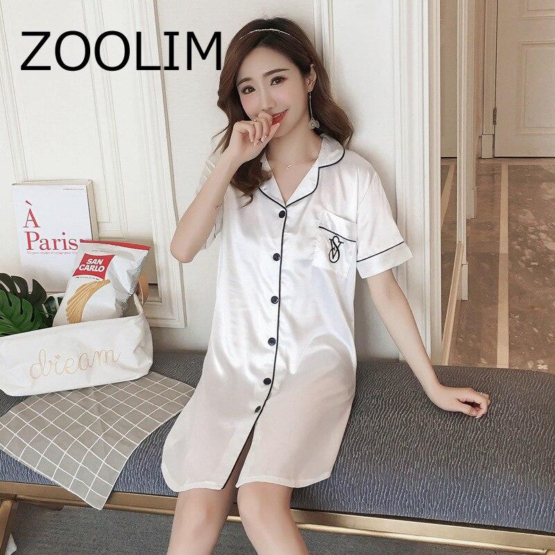 Women   Nightgowns   Night Shirt Satin Sleepwear Nightshirts Short Sleeve Silk Casual Loose Night Dress   Sleepshirts   Plus Size 3 XL