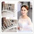 Plata Hansmade Hermosa Diademas de Novia de Cristal Accesorios Nupciales Del Pelo Celada de La Corona de La Boda Tiara nupcial Prom