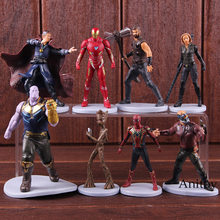 Avengers Infinity War Thanos Thor Spiderman Iron Man Star Lord Doctor Strange Tree Man Black Widow Action Figure Toys 8pcs/set(China)