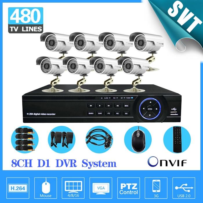 Home Surveillance 8ch font b CCTV b font System 8 channel DVR Kit 8pcs 480TVL IR