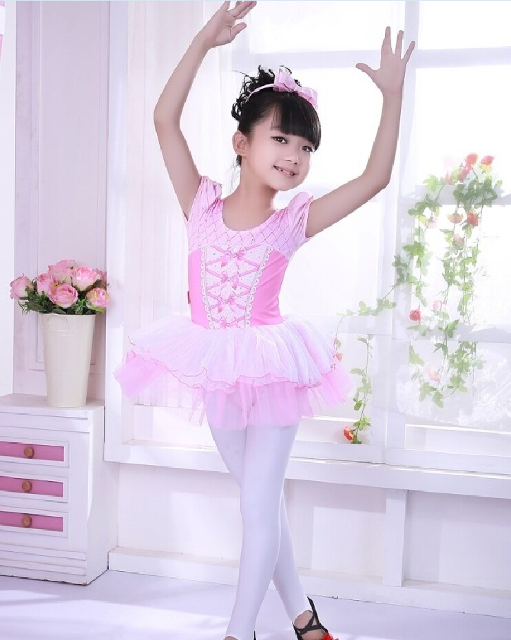 2016 Summer Girls Pink Ballet Tutu Dance Wear Child Gymnastics Leotard Ballerina Dress -2542