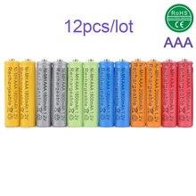 Célula de Bateria Recarregável para MP3 Brinquedos do RC MIX 12X Pilhas AAA 1800 MAH Ni-mh 3A 1.2 V Verde 12 Peça
